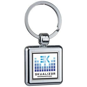 Two Sided Budget Chrome Plated Domed Keytag Square