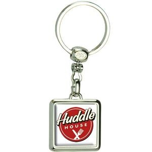 Square Die Cast Metal Domed Key Tag