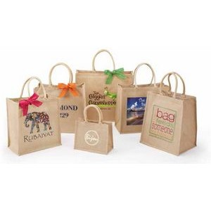 "Premier Line Jute Shopping Bags w/Rope Handle Screen Print (10""x5""x8"")"