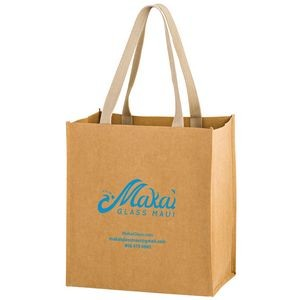 "TSUNAMI - Washable Kraft Paper Grocery Tote Bag w/ Web Handle (12""x8""x13"") - SP"