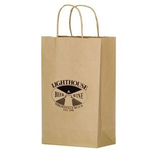 "Natural Kraft Paper Shopper Tote Bag (10""x5""x13"") - Flexo Ink"