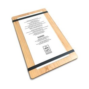 "9"" x 15"" Solid Alder Menu Board with 2 Bands - 1/2"" thick"