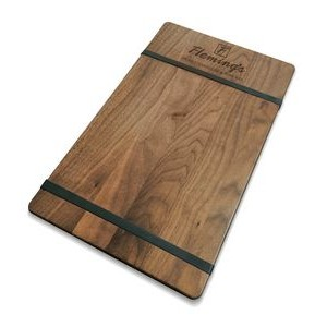 "9"" x 15"" Walnut Menu Board with Rubber Bands - 1/4"" Thick"