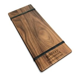 "5"" x 12"" Solid Walnut Menu Boards with Rubber Bands - 1/4"" Thick"