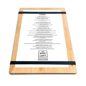 "9"" x 13"" Solid Alder Menu Board with 2 Bands - 1/2"" thick"