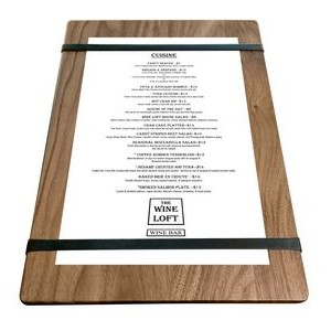 "9"" x 13"" Walnut Menu Boards with Rubber Bands - 1/4"" Thick"
