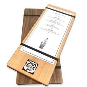 "5"" x 12"" Alder Menu Boards with Rubber Bands - 1/4"" thick"