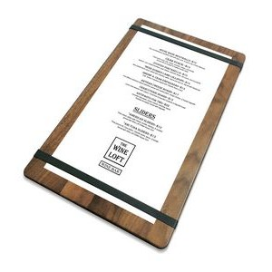 "9"" x 15"" Solid Walnut Menu Board with 2 Bands - 1/2"" thick"