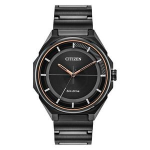 Citizen Men's Eco-Drive Watch, Black Stainless Steel, Black Dial