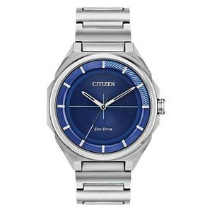 Citizen Men's Eco-Drive Watch, Stainless Steel, Blue Dial