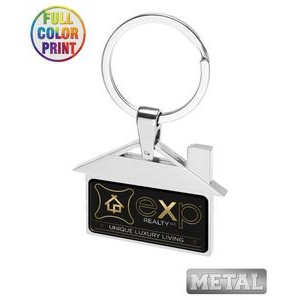 House Shaped Metal Keychain -Full Color Dome