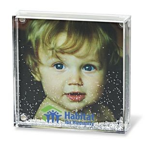 Acrylic Square Photo Frame Block with Water & Glitters
