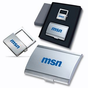 2-Piece Gift Set of Business Card Case and Key Holder
