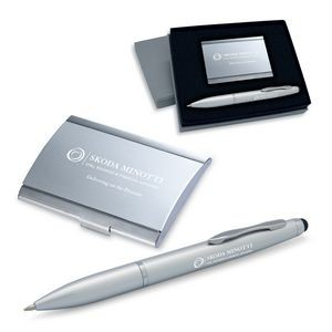 2-Piece Gift Set of Business Card Case and Stylus Ballpoint Pen