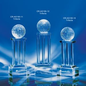 "Trifecta Crystal 3 Column Golf Award 10""H"