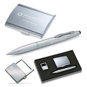 3-Piece Gift Set of Business Card Case, Stylus Ballpoint Pen and Key Holder
