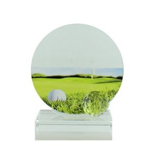 "5¼"" Glass Golf Trophy Award w/Ball & Color Printed Golf Image"