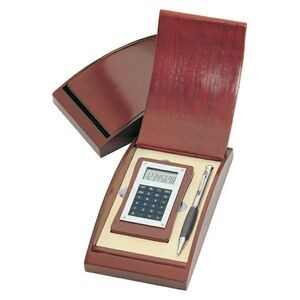 Unique Calculator and Pen Gift Set in Rosewood Box