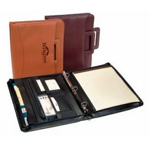 Executive Zippered Binder Organizer in Leather w/ Retractable Handles
