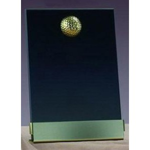 "Gold Golf Smoked Glass Plaque w/ Base (7""x9.5"")"