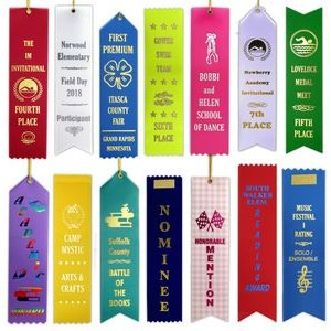 "Custom finished top award ribbons 2"" x 8"""