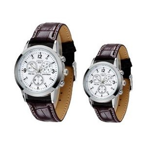 Quartz Watch Fashion Couple Wristwatch for Lovers w/Leather Band