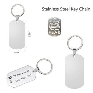 Stainless Steel Key Chain Dog Tag Name Plate