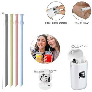 Foldable Silicone Straw With Key Chain