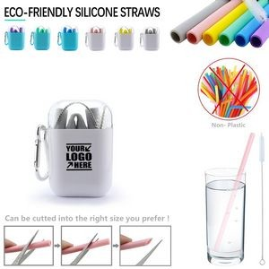 Foldable Silicone Straw With Carabiner