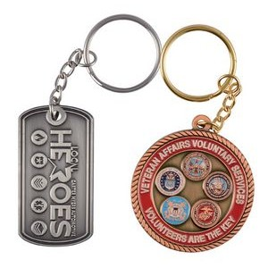 "1 3/4"" Double Sided Metal Keychain"