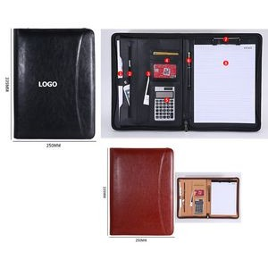 A4 Bonded Leather Zipper Portfolio With Calculator