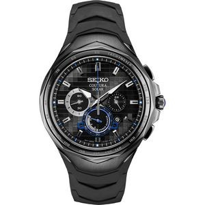 Mens Coutura Chronograph Black Ion Case with Black Dial and Blue Accents