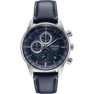 Seiko Mens Chronograph Silver Case Blue Pattern Dial Blue Leather Strap