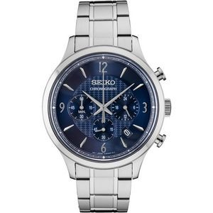 Mens Chronograph Silver Case Blue Pattern Dial Date Calendar