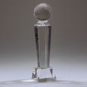 Optical Crystal Golf Trophy w/Ball Topper (X-Large)