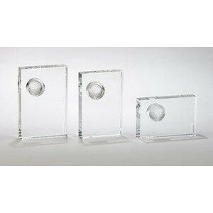 "Large Rectangle Crystal Golf Trophy (7"")"