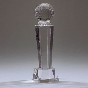 Optical Crystal Golf Trophy w/Ball Topper (Large)