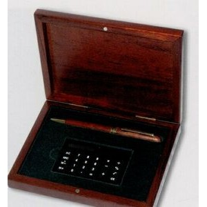 Rosewood Finish Box w/ Pen & Calculator