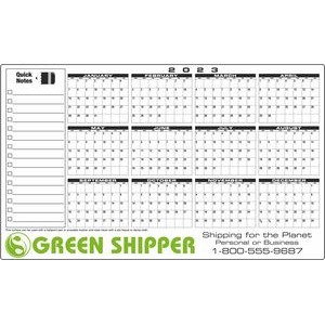 Premium Plastic Write-on/ Wipe-off Year-at-a-Glance Calendar (Horizontal)