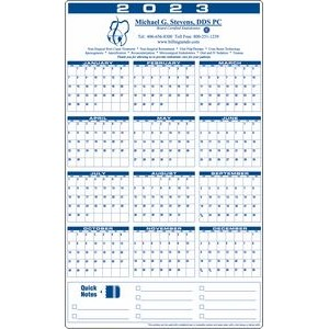 Premium Plastic Write-on/ Wipe-off Year-at-a-Glance Calendar (Vertical)