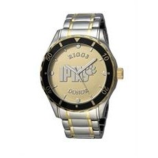 Selco Geneve Men's Canvas Medallion Silver/Gold Watch