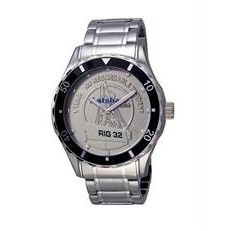 Selco Geneve Men's Canvas Medallion Silver Watch