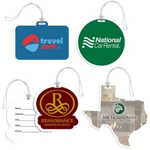 Full Color Custom Shaped Bag Tag w/ Clear Loop