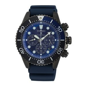 Seiko SSC701 Solar Men Diver Watch - Black & Blue
