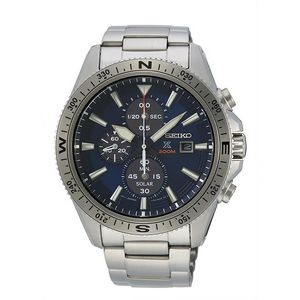Seiko SSC703 Solar Men Diver Watch - Silver & Blue