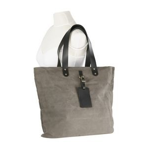 Waxed Canvas Shopper Tote Bag with Leather Tag