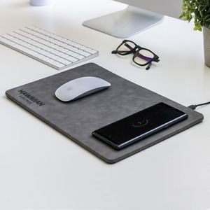 Leon - Wireless Charger Vegan Leather Mouse Pad