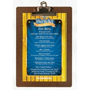 "Metal Clip Board with Single Panel Menu Cover (4 1/4""X11"" Insert)"