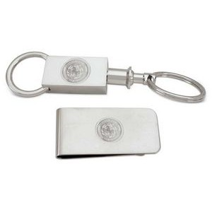 Silver 2 Sectional Key Ring - Gold Plated