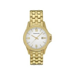 Tourneau Mens Gold Tone White Dial Bracelet Watch